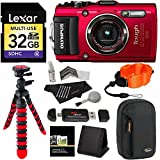 Olympus TG-4 16 MP Waterproof Digital Camera with 3-Inch LCD (Red) + Lexar 32GB Memory Card + 12