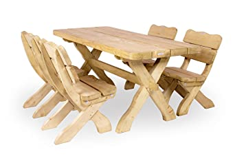 Farm Garnitur 170 cm (Tisch + 4 Stuhle) Solide Gartenmöbel aus 60 mm starkem Kiefernholz