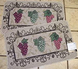 2 18 x 30 inch berber rugs with grape designs kitchen dining - Grape design kitchen rugs ...