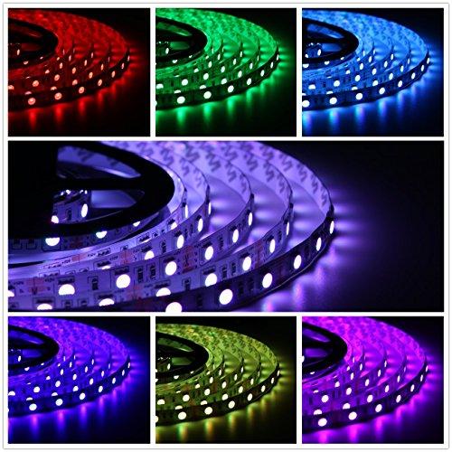 Salcar 5m RGB LED Strip mit 300 LEDs (SMD5050), 16 Farben auswählbar, inkl. 24 Tasten IR-Fernbedienung, Controller und 12V 60W Netzteil