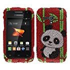 Fincibo (TM) Samsung Galaxy Rush M830 Bling Crystal Rhinestones Hard Snap On Protector Cover Case - Panda With Bamboo
