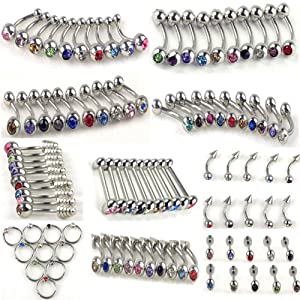 10Styles 100pcs Stainless Steel Belly Tongue Eyebrow Lip Ear Barbell Piercing