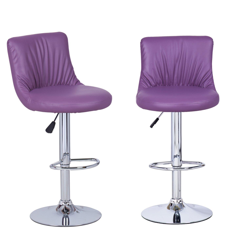 adeco purple adjustable leatherette barstools or dining. Black Bedroom Furniture Sets. Home Design Ideas