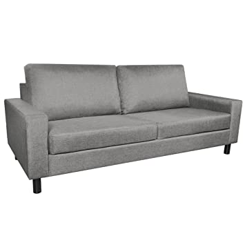 Anself Sofa Couchgarnitur Couch Sofagarnitur Loungesofa Polstergarnitur 3-Sitzer Hellgrau