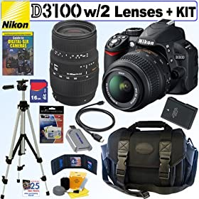 Nikon D3100 14.2MP Digital SLR Camera with 18-55mm f/3.5-5.6 AF-S DX VR Nikkor Zoom Lens and Sigma 70-300mm f/4-5.6 SLD DG Macro Lens with built in motor + EN-EL14 Battery + 16GB Deluxe Accessory Kit