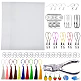 Terokota 164Pcs Shrink Plastic Sheet Kit Includes 22Pcs Shrinky Art Paper Kids Shrink Film Creative Pack with Keychains, Hole Punch, Tassels, Ear Hooks (Tamaño: 164Pcs-14.5×20cm/W×H-Fine Grinding)