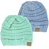 Winter White Ivory Thick Slouchy Knit Oversized Beanie Cap Hat,One Size,2 Pack: Denim/Sage