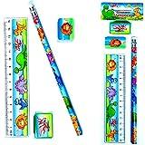 German Trendseller® - 4 x Dino Schreib-set ┃4 x Bleistift