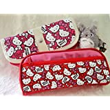 Hello Kitty Pencil Holder / Makeup Case (Red) (Color: Red)