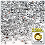 The Crafts Outlet 2500-Piece Loose Flatback Acrylic Round Tiny Rhinestones for Nails, 2mm, Crystal Clear