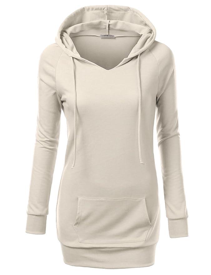 J.TOMSON Womens Long Sleeve Raglan Crewneck Tunic Sweatshirt IVORY M