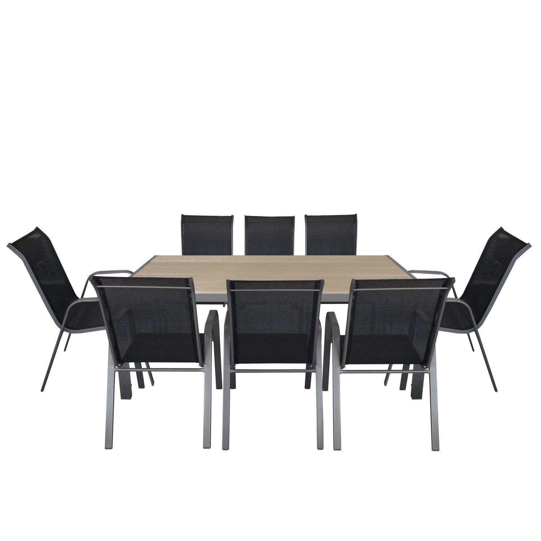 9tlg. Gartengarnitur Aluminium Polywood Gartentisch 205x90cm + stapelbarer Gartenstuhl Stapelstuhl mit Textilenbespannung Stahlgestell pulverbeschichtet Sitzgruppe Sitzgarnitur Gartenmöbel Terrassenmöbel Set bestellen