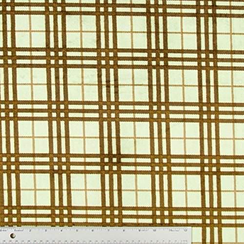 Green Plaid Modern Style Plush Minky Fabric - By The Yard front-992368