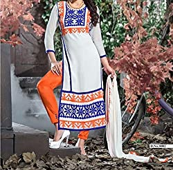 Krishna ECommerce Women's Salwar Suit Dress Material. (TirangaWhite)