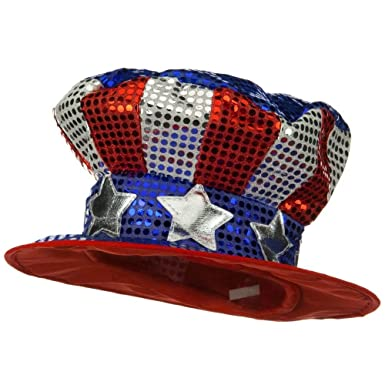 db177f3ad96c Shiny Uncle Sam Top Hat - Glitter polyester Made of 100% polyester. This hat  comes in ONE SIZE, fitting up to 7-3/8. Hat is lightly padded to retain its  ...
