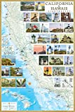 California & Hawaii Lighthouses Illustrated Map & Guide Laminated Poster