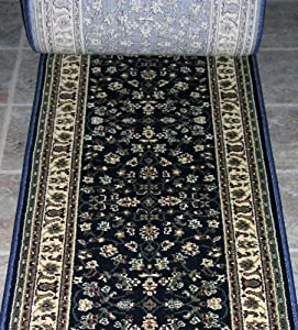 148672 rug depot radici castello 953 navy traditional hall and stair runner 25. Black Bedroom Furniture Sets. Home Design Ideas