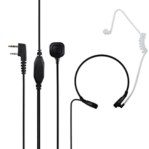 Proster Throat Mic Earpiece Flexible 2 Pin Walkie Talkie Headset Walky Talky Microphone Black Covert Acoustic Tube + Belt for Baofeng Kenwood Retevis Lonton Walkies Talkies (Color: White)