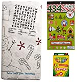 Christmas Kids Coloring and Activity Tablecover Kit with 24 Crayons and Christmas Themed Sticker Book Bundle of 3