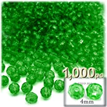 The Crafts Outlet 1000-Piece Faceted Plastic Transparent Round Beads 4mm Emerald Green