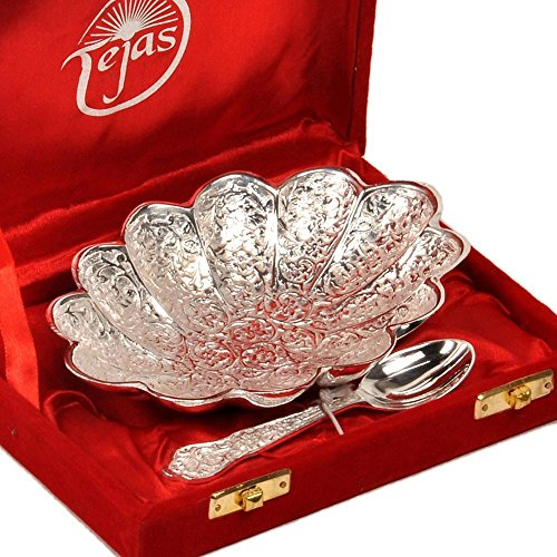 Little India Silver Polish Oval Shape Brass Bowl with Spoon 268 - 1