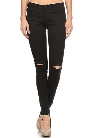 Vialumi Women Juniors Solid Slashed Slit Knee Distressed Skinny Jeans Black 13
