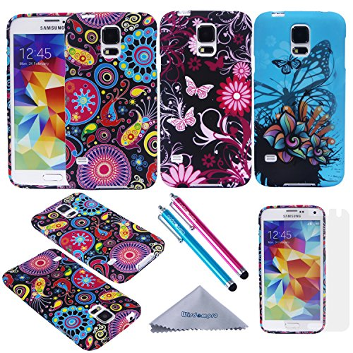 S5 Mini Case, Wisdompro 3 Pack Bundle of Color and Graphic Soft TPU Gel Protective Case Covers for Samsung Galaxy S5 Mini G800F G800H G800H/DS G800Y(NOT Fit S5) -Jellyfish Butterfly Pattern (Samsung Galaxy 5 Mini Case compare prices)