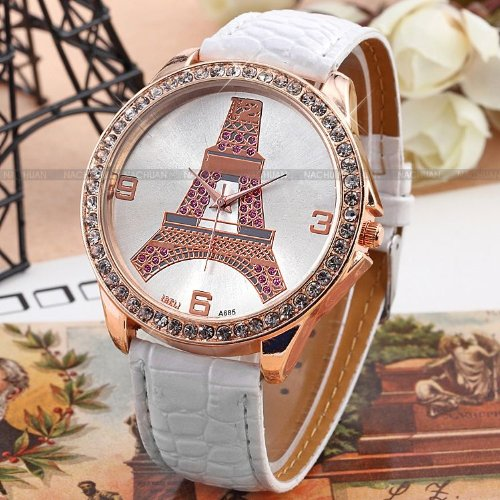AMPM24 New Crystal Eiffel Tower Lady Women Girl White Leather Quartz Wrist Watch Gift