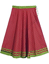 DollsofIndia Black Print On Red Cotton Long Skirt - Length 39 Inches - Red