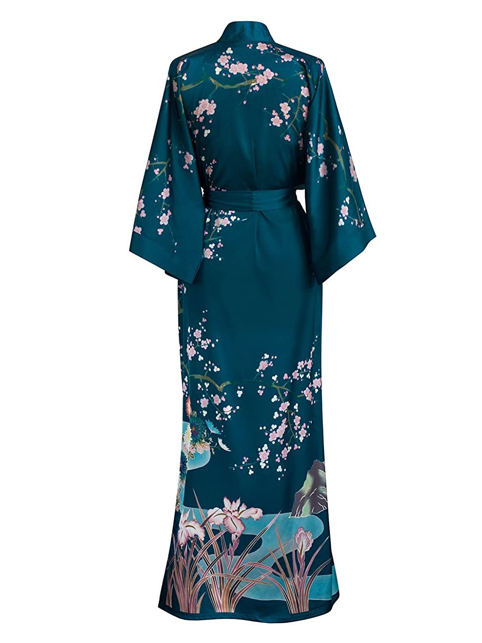 Old Shanghai Women's Kimono Robe Long - Watercolor Floral 1