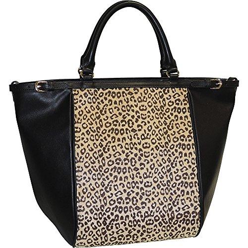 adrienne-landau-cheetah-print-top-zip-tote-black