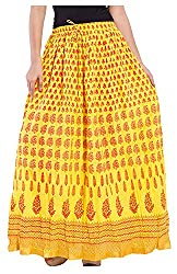 Magnus Women's Long Skirt (SKT489, Yellow, M)