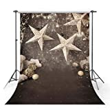 MEHOFOTO Christmas Stars Photo Studio Booth Backgrounds Props Winter Christmas Bells Xmas Children Backdrops for Photography 5x7ft (Color: Christmas Stars, Tamaño: 5x7ft)