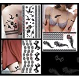 3-pack Sexy Jewelry Fashion Lace & Feather Temporary Tattoos - 3 Lace & Feather Series Set
