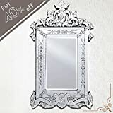 IndianShelf Handmade Vintage New Design Decorative Clear Glass Wood And Iron Long Venetian Mirror 48 Inches X...