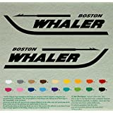 """Pair 12"""" BOSTON WHALER Decals *Black* Vinyl Stickers Boat Outboard Motor lot of 2"""