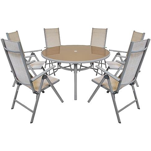 Charles Bentley 6 posti textilene esterna Giardino Sala Set Tavola rotonda e 6 sedie reclinabili terrazze