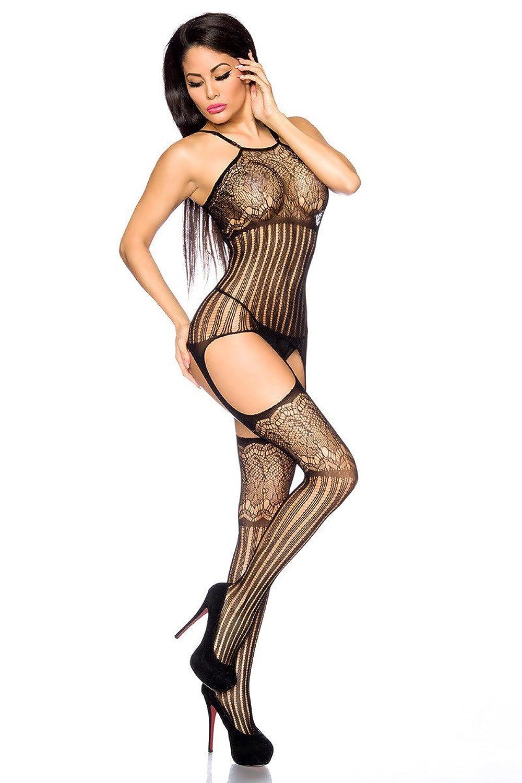 Amynetti Sexy Damen Dessous Strapskleid Bodystocking Strapsstrümpfe Nezt Stockings Muster Catsuit Kleid schwarz