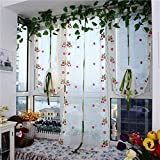 Home Textiles Creative 100x80cm Strawberries Liftting Tulle Curtain Door Window Sheer Curtain Blinds Home Textiles Window Treatments