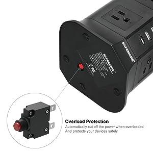 SAFEMORE Smart Power Plug Surge Protector Power Strip Tower 8-Outlet 4-USB Desktop Charging Station Multiple Plug Outlets with 6.5ft/2M Long Power Cord 110V Outlet Tower (Black) (Color: Black)
