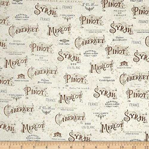 Kaufman Vineyard Wine Types Vintage Fabric By The Yard (Type Fabric compare prices)