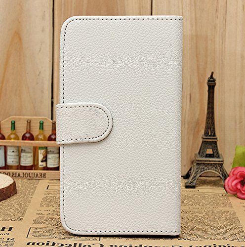 Mylife (Tm) Snow White {Classic Design} Faux Leather (Card, Cash And Id Holder + Magnetic Closing) Slim Wallet For The All-New Htc One M8 Android Smartphone - Aka, 2Nd Gen Htc One (External Textured Synthetic Leather With Magnetic Clip + Internal Secure S