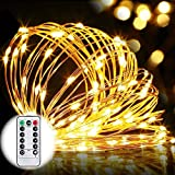 8 Modes String Lights, GDEALER 33ft 100LED Copper Wire Starry String Lights Battery Powered with Remote Control for Outdoor, Indoor, Wedding, Christmas Party warm white(Battery NOT INCLUDED) (1)