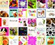 30 Mixed Square Birthday Greeting Card Pack