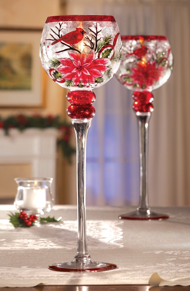 Christmas Cardinal & Poinsettia Stemmed Glass Votive Holder