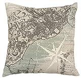 COMPASS Costal Map Decorative Pillow, 18 x 18 , Linen/Blue