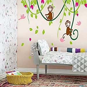 Large Naughty Monkeys on tree vine Wall Art Sticker Decal for nursery Bedroom Decor Removable baby Kids room wall mural children birthday party Decoration Home Wall Art Decoration by ECFACTOP