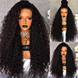 Hot! PlatinumHair Black Loose Curly Wigs Synthetic Lace Front Wigs Heavy Density Glueless for Women Synthetic Wigs 24