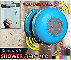 Wireless Call support Stereo Shower Speakers, Portable Waterproof Bluetooth Wireless Stereo Shower Speakers,Kid-friendly - Best for Bath, Pool, Car, Beach, Indoor/Outdoor Use - (Colors may vary)
