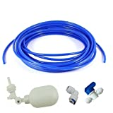 1/4 inch Tube Float Valve Kit for RO Water Reverse Osmosis System water filter Push in to Connect Pipe Hose Tube Fittings(ball valve +L+15 feet pipe) (blue) (Color: Blue)